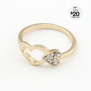 Jewelry - Crystal Gold Double Heart Ring